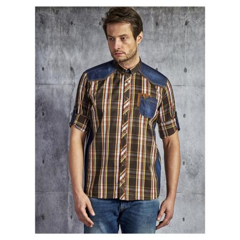 Pánská hnědá kostkovaná bavlněná košile s vložkami PLUS SIZE