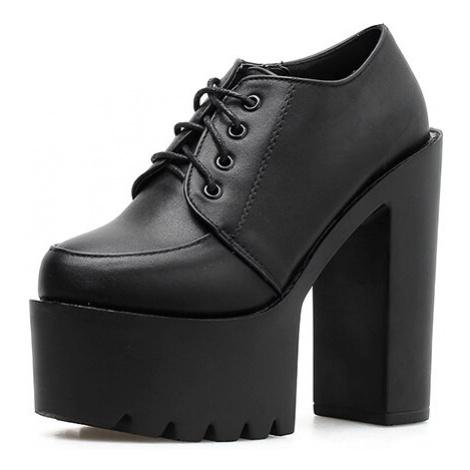 Kožené vysoké boty s tkaničkami na platformě s podpatkem