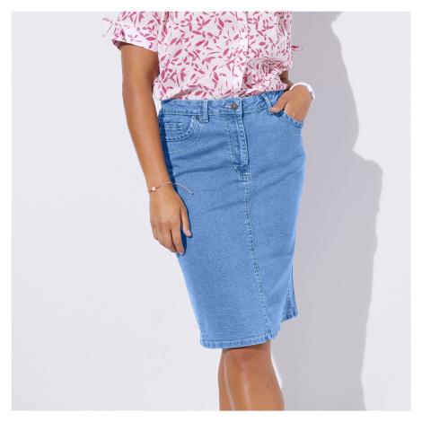Blancheporte Zeštíhlující džínová sukně sepraná modrá