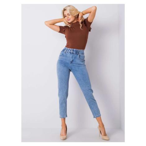 Modré dámské džíny s vysokým pasem FPrice