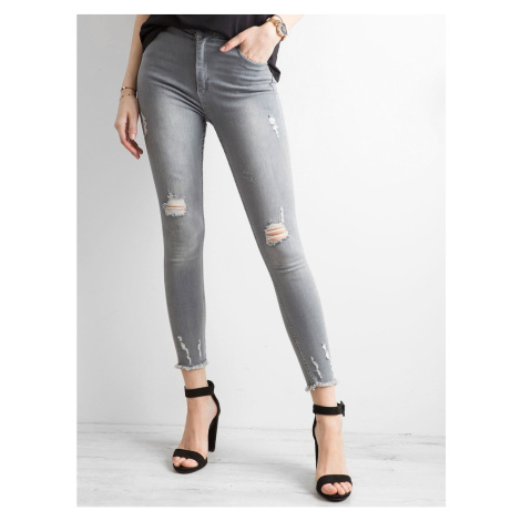 Ripped high-waisted jeans in gray Fashionhunters