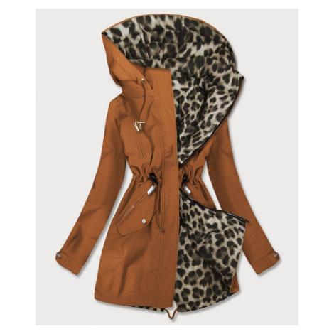 Oboustranná dámská bunda parka v karamelové barvě s kapucí (W354BIG) MHM