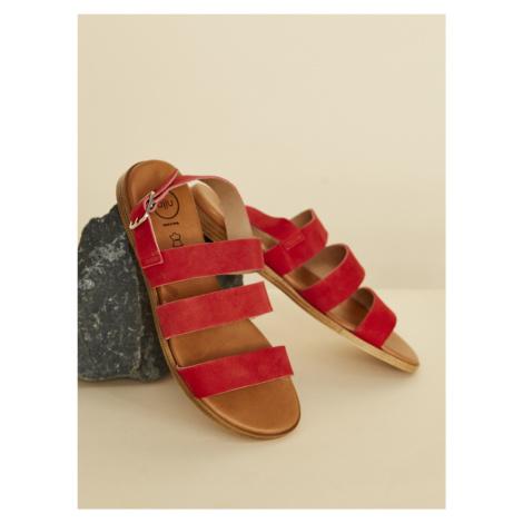 OJJU červené semišové sandály Piso