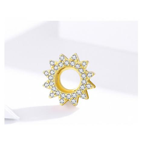 Stříbrný přívěsek na náramek pozlacená hvězda s čirými zirkony