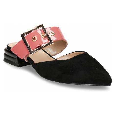 Černé dámské pantofle s růžovým páskem a koženou stélkou Baťa