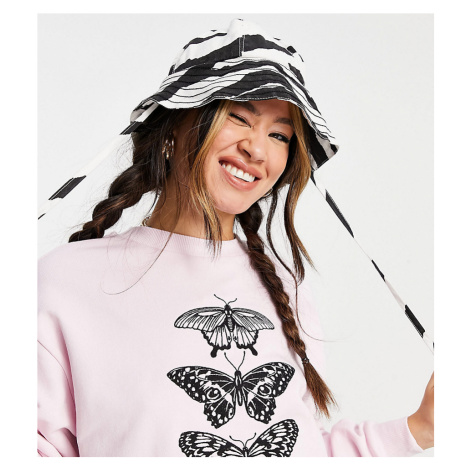 Reclaimed Vintage inspired cropped sweat with butterfly print in pink