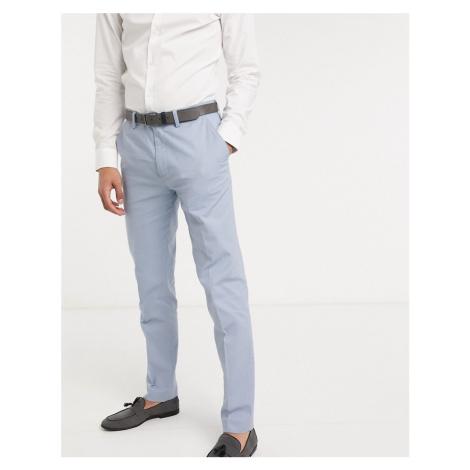 Gianni Feraud Wedding linen slim fit suit trousers-Blue Féraud