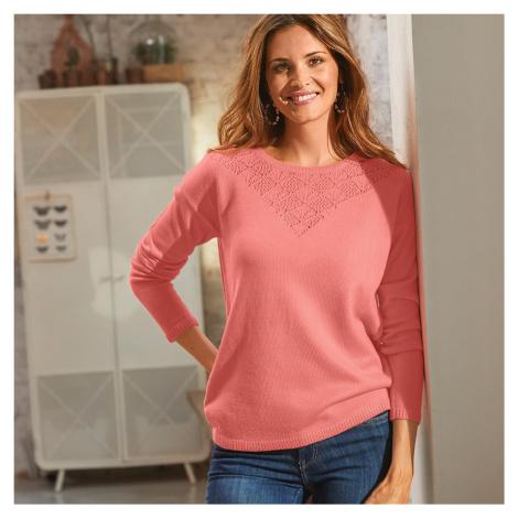 Blancheporte Ažurový pulovr s kulatým výstřihem broskvová