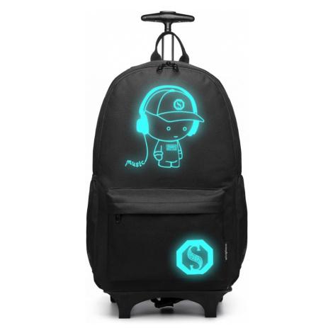 Černý multifunkční zářící batoh na kolečkách Ziggy Lulu Bags
