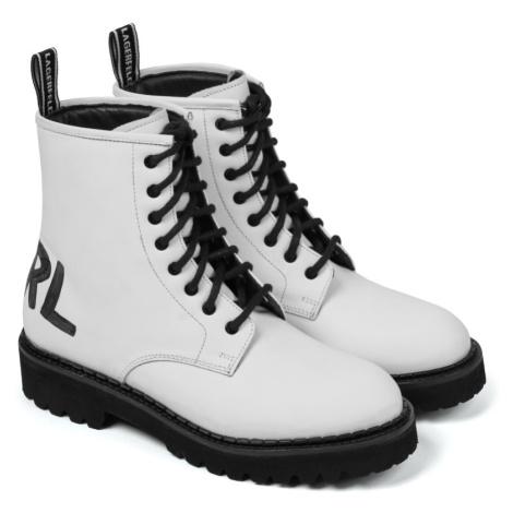 Kotníková Obuv Karl Lagerfeld Troupe Brush Logo Boot Hi - Bílá