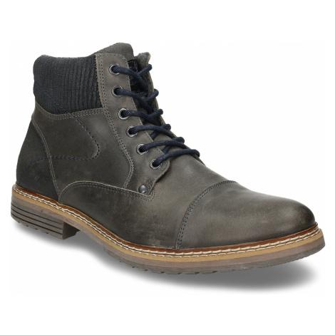 Pánská zimní obuv v šedé kůži Baťa