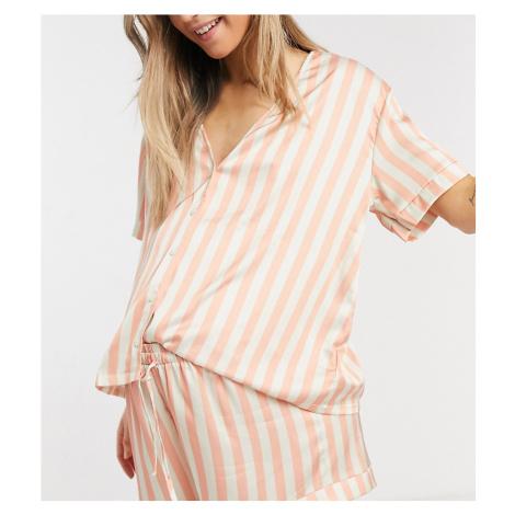 ASOS DESIGN Maternity stripe satin shirt & short pyjama set in peach-Pink