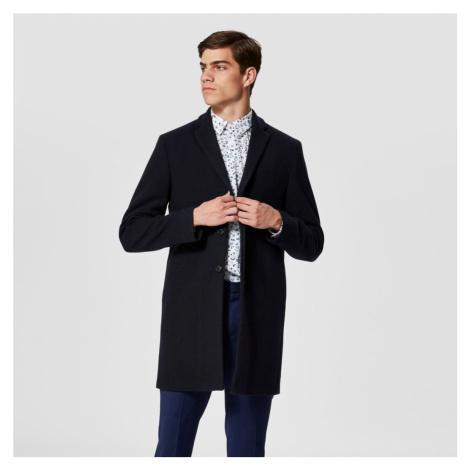 Vlněný tmavě modrý kabát Brove Selected