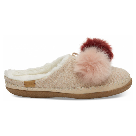 Rose Cloud Multicolor Felt/Pom Pom Women's Ivy slipper Toms