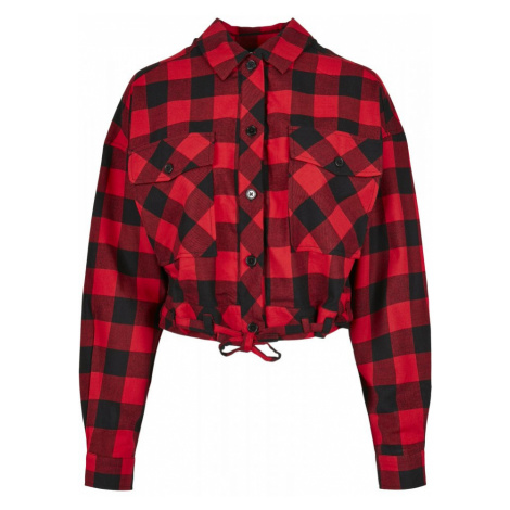 Ladies Short Oversized Check Shirt - black/red Urban Classics
