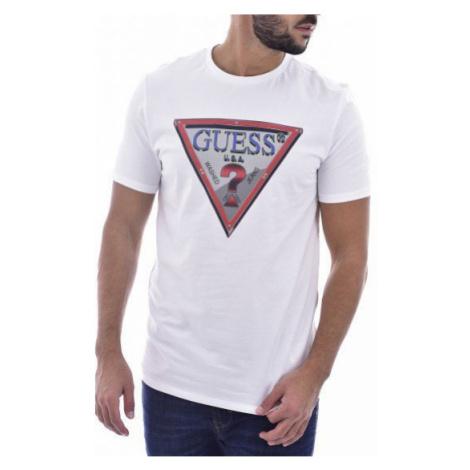 Guess GUESS pánské bílé tričko s trojúhelníkem