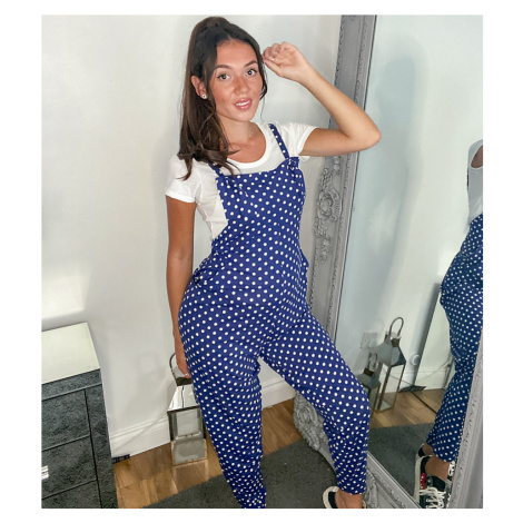 ASOS DESIGN maternity dungaree jumpsuit in jersey in navy spot print-Multi