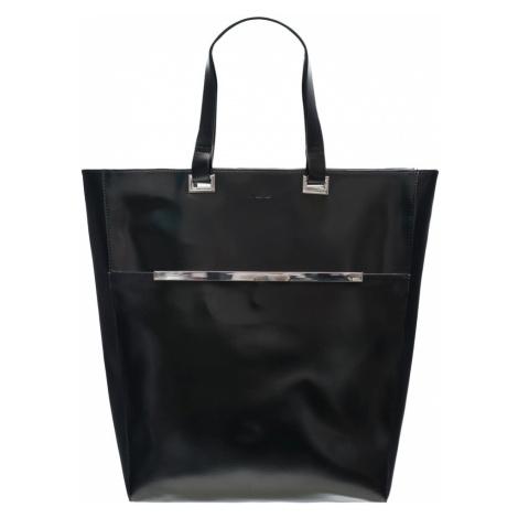 Kožená kabelka Guy Laroche stříbrné zdobení - černá