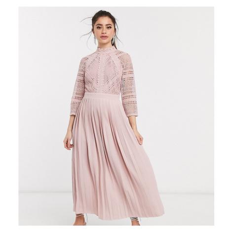 Little Mistress Petite lace detail midaxi dress in blush-Pink