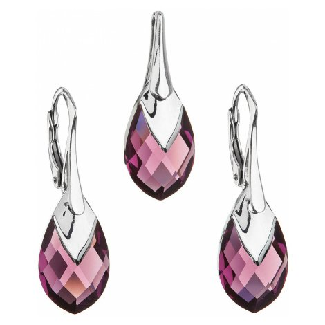Evolution Group Sada šperků s krystaly Swarovski náušnice a přívěsek fialová slza 39169.4 amethy