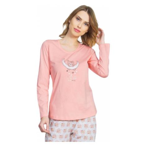 Dámské pyžamo dlouhé Vienetta Secret Méďa na měsíci | azurová