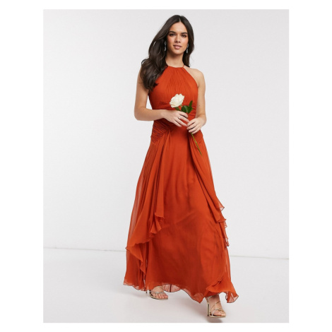 ASOS DESIGN Bridesmaid pinny maxi dress with ruched bodice and layered skirt detail-Orange
