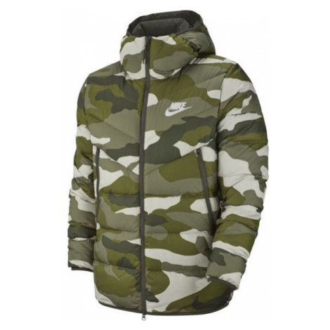 Nike NSW DWN FILL WR JKT HD AOP M béžová - Pánská bunda