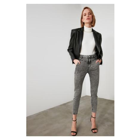 Trendyol Grey Seam Detailing High Waist Skinny Jeans