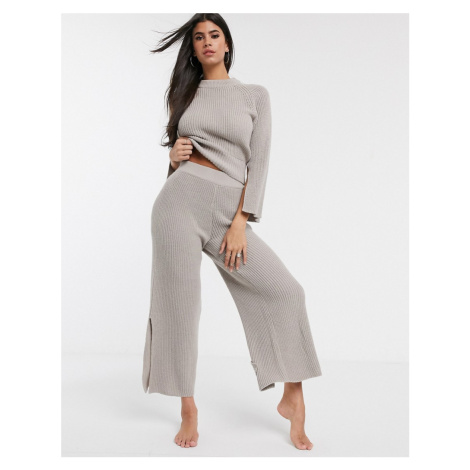 ASOS DESIGN lounge premium knitted wide leg trouser with splits-Beige
