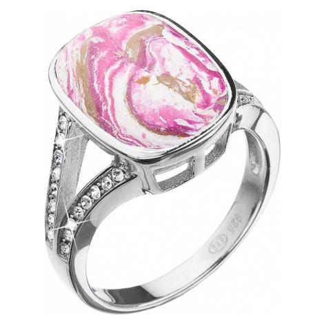 Stříbrný prsten obdélník růžovobílý mramor se Swarovski krystaly 75014.1 Victum