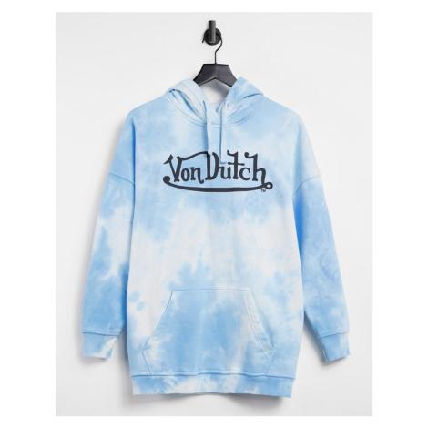 Von Dutch oversized tie dye hoodie-Blue
