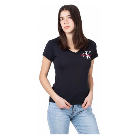 Calvin Klein Calvin Klein dámské černé tričko SS V NECK MONOGRAM TEE