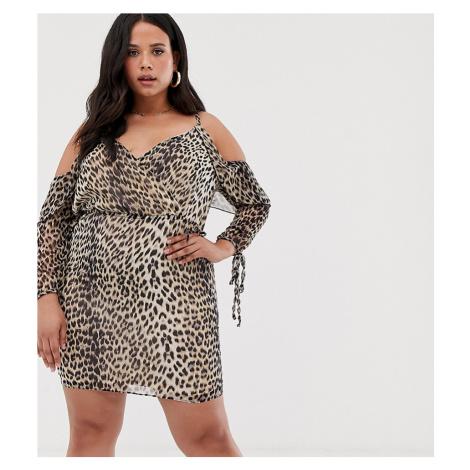 Koko leopard print cold shoulder wrap dress-Multi