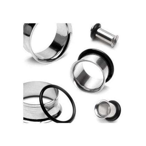 Piercing do ucha - tunnel z chirurgické oceli se zahnutým okrajem a gumičkou - Tloušťka : 8 mm Šperky eshop