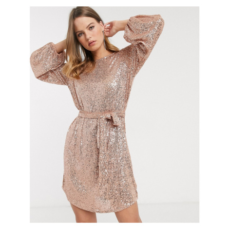 River Island sequin dress in rose gold