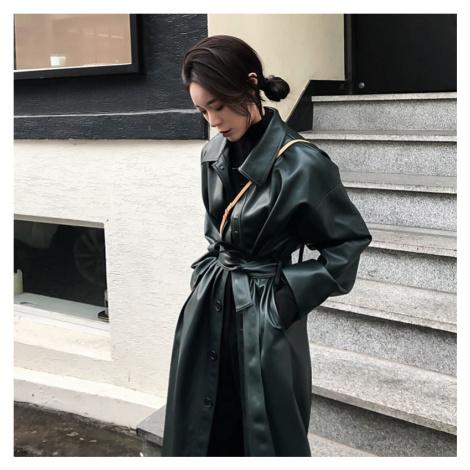 Dámský dlouhý kabát z umělé kůže FashionEU