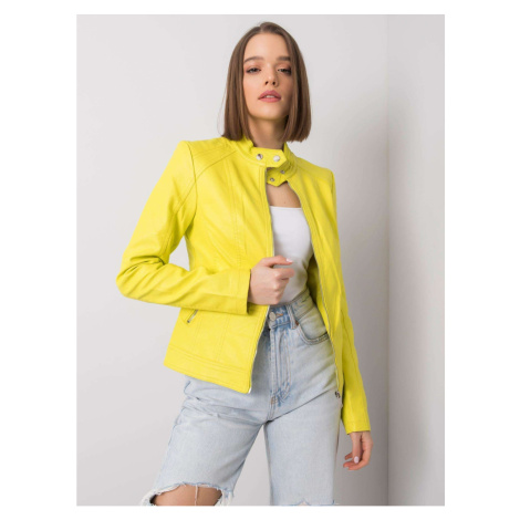 Lemon faux leather biker jacket