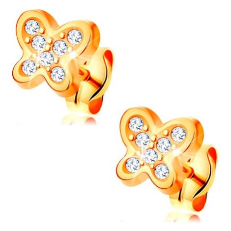 Náušnice ze žlutého 14K zlata - třpytivý motýlek, čiré kulaté zirkony Šperky eshop