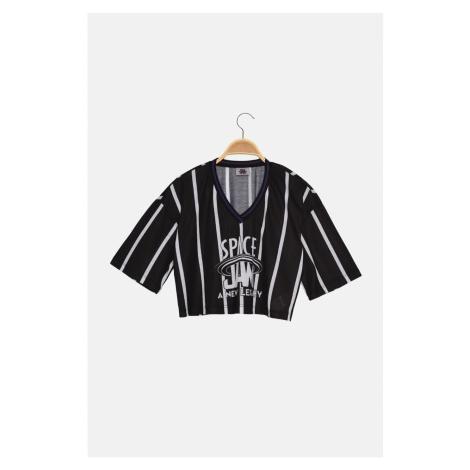 Trendyol Black Space Jam Licensed Printed Crop Knitted T-Shirt