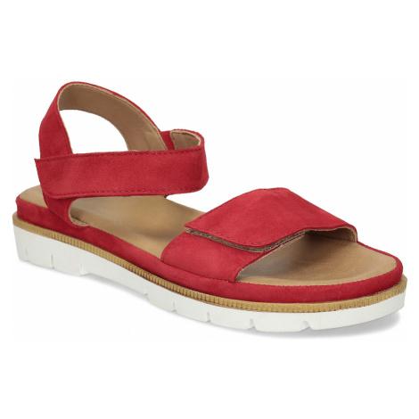 Dámské červené sandály z broušené kůže Baťa