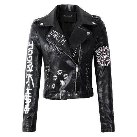 Dámská černá kožená bunda s nápisem a originálním potiskem