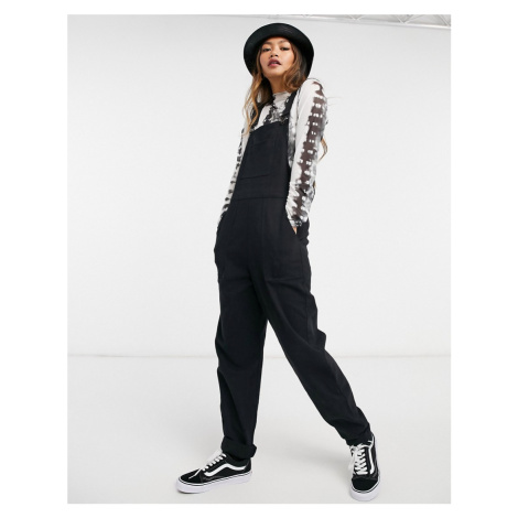 ASOS DESIGN twill dungarees with pockets in black