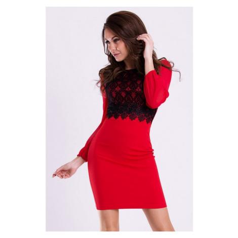 Dámské společenské šaty EMAMODA s dlouhými rukávy červeno-černé - Červená / - EMAMODA
