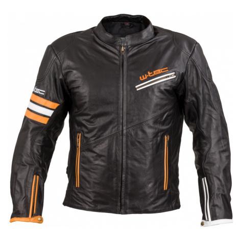 Kožená moto bunda W-TEC Brenerro Black-Orange-White
