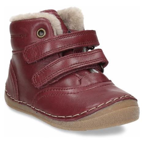 Dívčí vínový kožená zimní obuv Froddo
