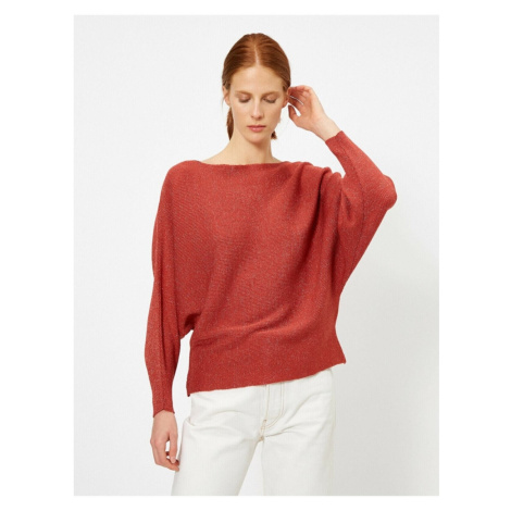 Koton Women's Brown Glitter Detailed T-Shirt