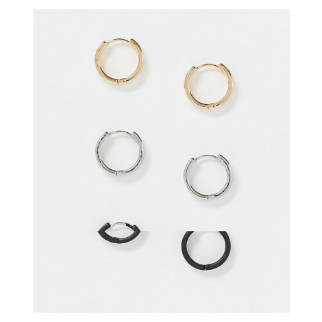 ASOS DESIGN 12mm hoop earrings pack in black silver and gold tone-Multi
