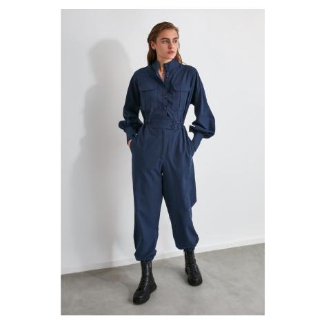 Trendyol Navy Blue Button Jumpsuit