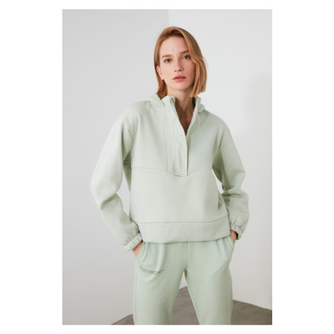 Trendyol Mint Knitted Sweatshirt with Zip and Hood