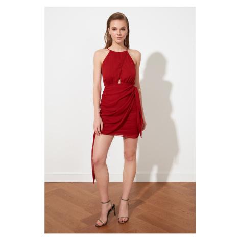 Trendyol Cinnamon Drape Detailed Chiffon Dress